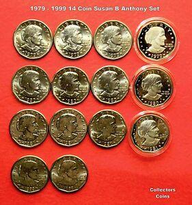 1979-1980-1981-1999-1-Susan-B-Anthony-Dollar-14-Coin-P-D-S-S-Uncirc-Proof-Set