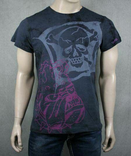 ED Hardy herren KING OF BEASTS T-hemd Vintage schwarz NEW