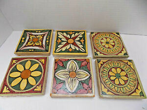 6 Italian Tiles Art Pottery Barn Tiles Rustic Handpainted