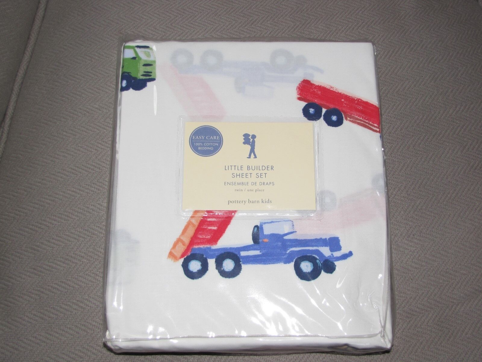 POTTERY BARN Kids Little Builder Feuille Set TWIN Ajusté Plat standard Taie d'oreiller
