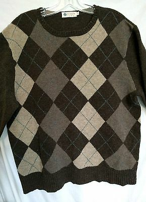 Euc J Crew Lambswool Brown Argyle Sweater Men's Shoes