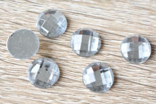 ACC12 Round CLEAR 12mm 40pcs Flatback Acrylic Resin Jewel