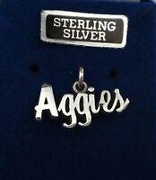 Sterling Silver 9x19mm Texas A&m University Aggie Atm Says Aggies Cursive Charm