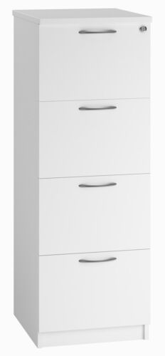 EQUINOX 4-Drawer Wooden Filing Cabinet WHITE