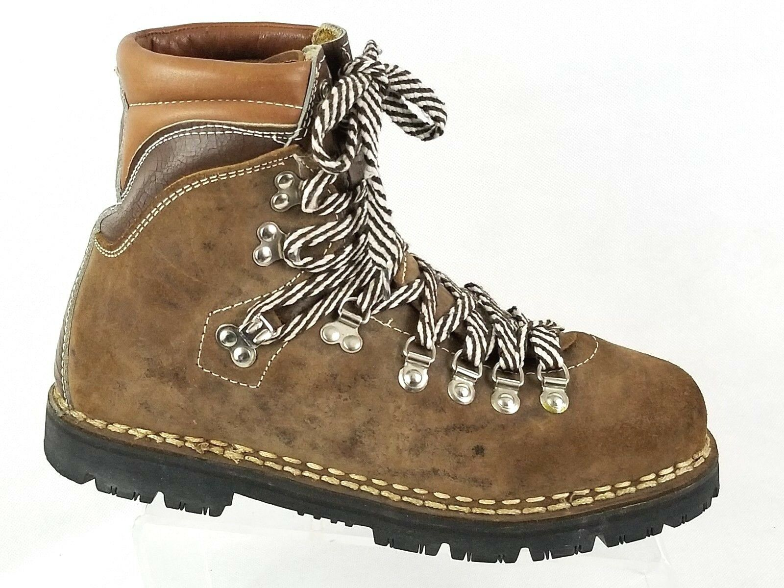Vintage Thom McAn Vibram Brown Leather Men's Boots Size 8 Made In  Hiking