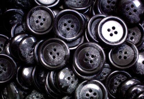 18mm 23mm Very Dark Charcoal Grey Black Swirl Coat 4 Hole Buttons W293-W294