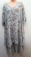 New Italian Lagenlook Light Grey Floral Cotton Tunic Dress Top 16 18 20 22