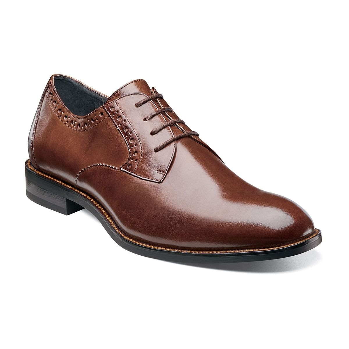 Stacy Adams Hombre Coñac Graham Dedo Pie Normal Cuero con Cordones Oxford