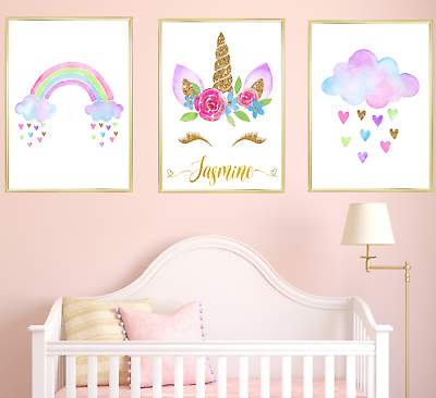 3 Personalised Dream Bunny  Prints Nursery Wall Art Girl Room Pictures