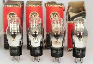 4x-TUBES-31-Radiotron-RCA-DHT-SILVER-PLATE-IN-ORIGINAL-BOX-TRIODE-valve-VT-31