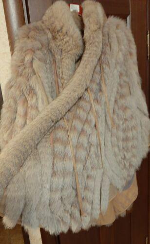 polar fox fur leather reversible cape gown poncho