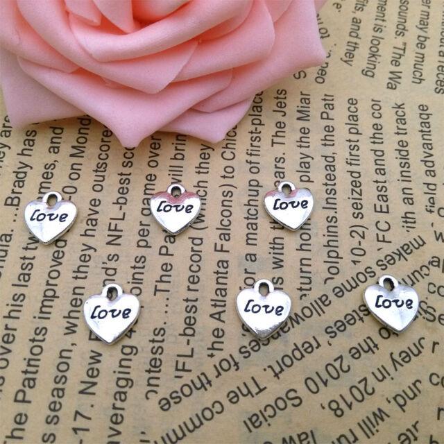 Wholesale 12pcs Tibet Silver 3D Process Love Charm Pendant Beaded Jewelry 124