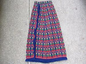 Vintage Lanz Embroidered 70s Maxi Wrap Skirt Fringe Boho