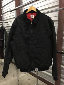 MENS-LARGE-Carhartt-J14-Sandstone-Flannel-Quilt-Lined-Santa-Fe-Jacket-Black