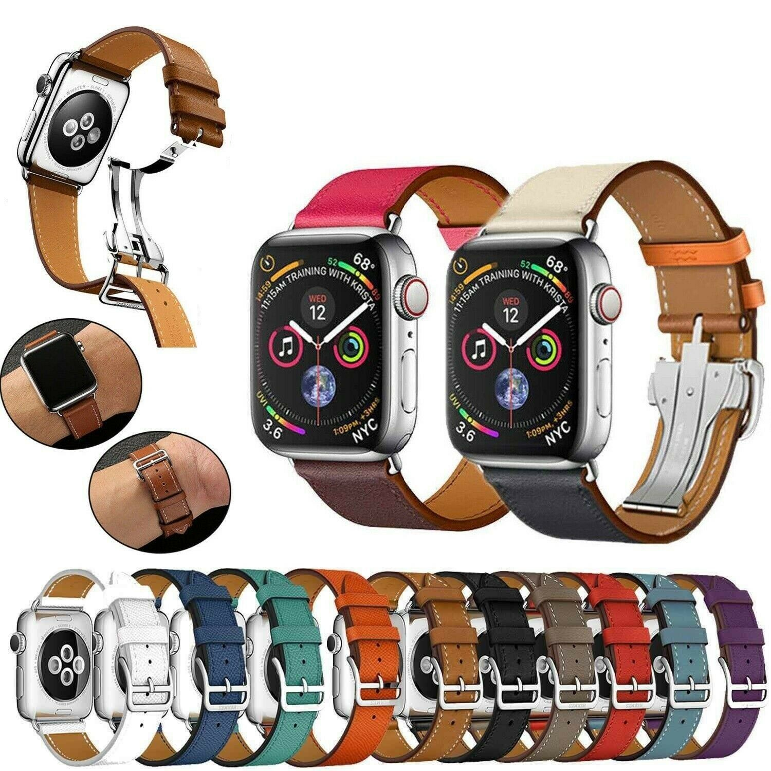 iwatch: Leather Band Deployment Buckle Single Tour iWatch Strap For Apple Watch 6/5/SE