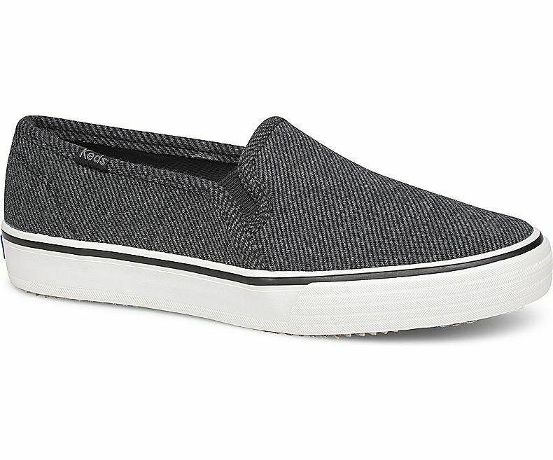 Keds WF59053 Women's shoes Double Decker Twill Stripe Jersey Charcoal, 10 Med