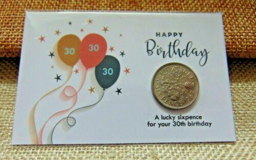 30th Anniversaire LUCKY SIXPENCE Cadeau Souvenir Avec Choix De Enveloppe