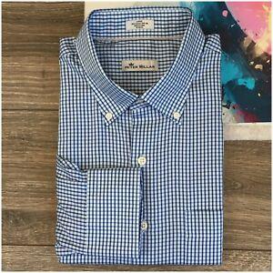 PETER-MILLAR-Cotton-Silk-Mens-L-Large-Button-Down-Long-Sleeve-Shirt-Plaid