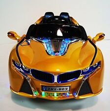 2 x 6 Volts Motor Electric Ride On Auto For Kids 2-6 y/o LED Wheels MP3 AUX Gold