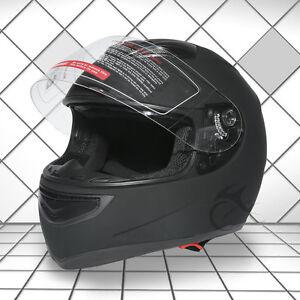 Adult Dual Visor Matte Black Full Face Motorcycle Helmet Street Bike M L XL XXL