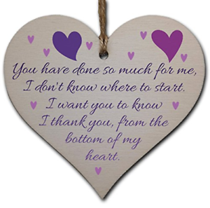 Handmade Wooden Hanging Heart Plaque Gift for Someone Special Thank you Keepsake