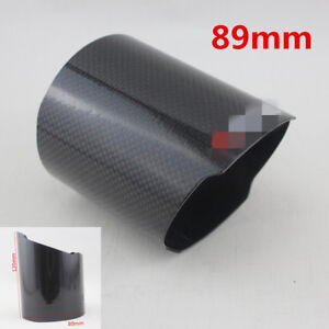 Auto-Car-Glossy-Carbon-Fiber-Exhaust-Muffler-Tail-Pipe-Tip-Cover-89mm-With-Logo