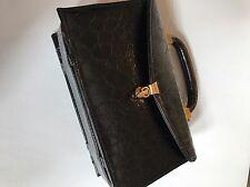 Vintage Meyers Box Purse Doctors Bag Top Handle USA Black faux Alligator