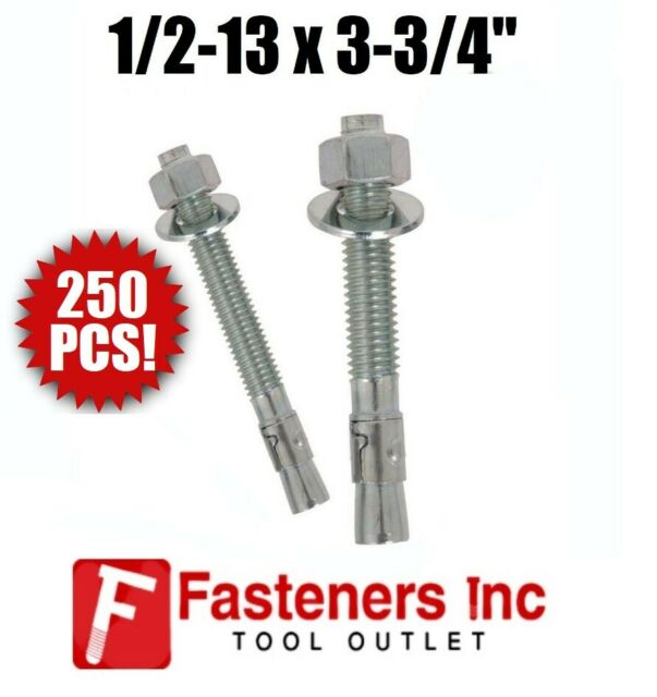 Box of 20 Zinc Plated Wedge Anchors 5//8-11 X 12