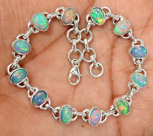 Natural-Ethiopian-Opal-925-Sterling-Silver-Bracelet-Jewelry-SB15976