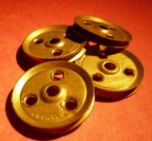 """Four Meccano Part 22 1/"""" Pulley with Boss Original"""