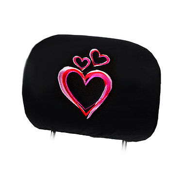 NEW DESIGN PINK HEART LOGO CAR TRUCK AUTO SEAT HEADREST COVER ACCESSORIES
