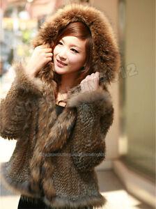 100% Real Genuine Knitted Rabbit Fur Jacket Coat Outwear Hoody ...