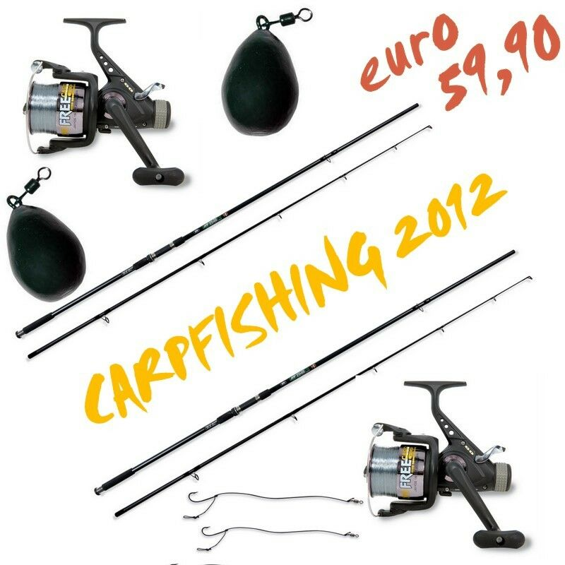 ATTREZZATURA CARPFISHING PIOMBI 2 CANNE 2 MULINELLII CARPA CARP FISHING F514