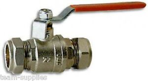 RED-LEVER-ACTION-BALL-VALVE-15MM-FULL-BORE-COMPRESSION-WATER-ISOLATION