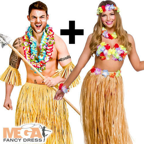 Costume Hawaiano Adulti ZULU Hawaii Tropicale Uomo Donna Costume in Coppia Set