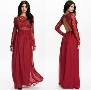 e02f084c60b3 Wine Red Lace and Chiffon Dress Long Sleeves With Cut Out Back One ...