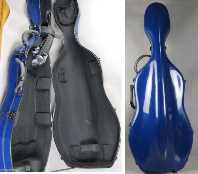 Beautiful blue color fiberglass 3/4 cello case w/ wheells