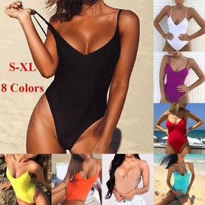 Solid-Women-Sexy-One-Piece-Swimsuit-Halter-Bandage-Bikini-Swimwear-Bathing-Suit