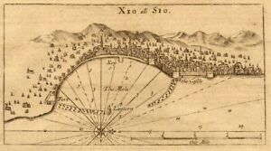 Xio als Sio Chios town Greece MOUNT PAGE sea chart view 1747