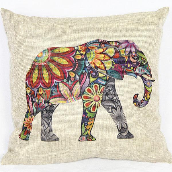 Colorful Elephant Sofa Throw Pillow Case Cotton Linen Car Bed Home Cushion Cover