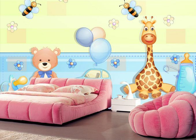 3D Giraffe Bear Honeybee Paper Wall Print Decal Wall Wall Murals AJ WALLPAPER GB