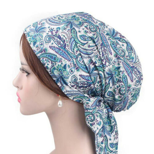 Cotton Print Turban Muslim Hijab Hat Long Streamer Hair Tie Chemo Cap Headscarf