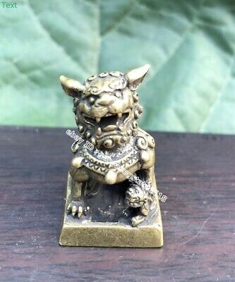 3 cm China Bronze exorcise evil spirits Animal Foo Dog Lion seal stamper signet