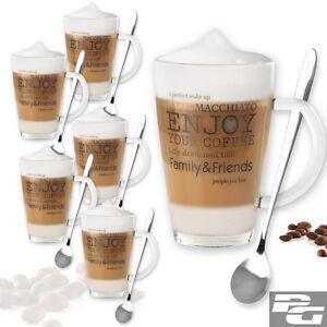 6er set xl kaffeegl ser l ffel latte macchiato kaffeebecher gl hwein tasse tee ebay. Black Bedroom Furniture Sets. Home Design Ideas