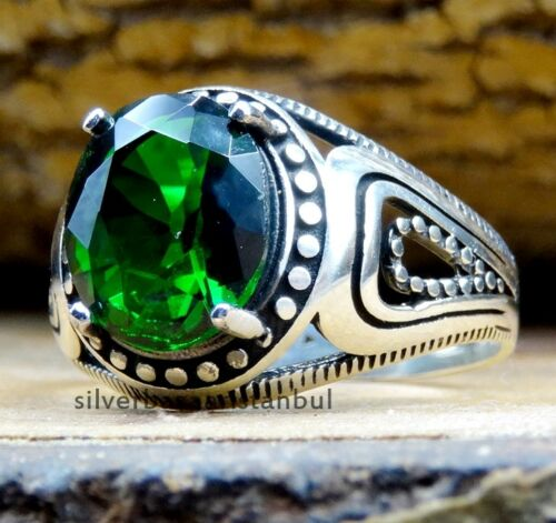 Solid EMERALD Turkish Jewelry Handmade 925 Sterling Silver Mens Ring ALL SİZE