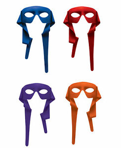 Adults Colored Tie On Eye Masks Costume Accessories Set Purple Red Orange Blue