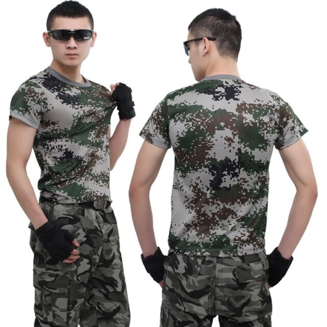 Mens Army Camo T-Shirt Camouflage Military Tactical Assault Combat Short Sleeve