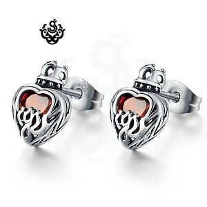 Silver-stud-red-crystal-stainless-steel-gothic-crown-heart-earrings