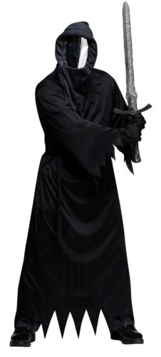 ADULT SCARY GHOUL BLACK ROBE HOOD WITH MIRROR MASK GLOVES COSTUME FW131424
