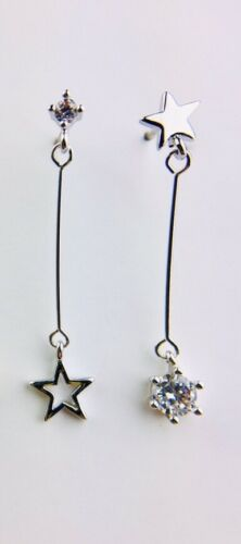 Dainty Mismatch Star and Diamante Drop Earrings Available in Gold /& Silver